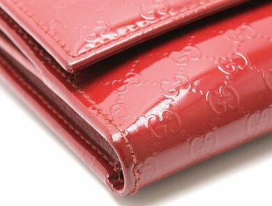 【財布】GUCCIグッチマイクログッチシマWホックレザー赤レッドパテントレザー3097552184【中古】【u】