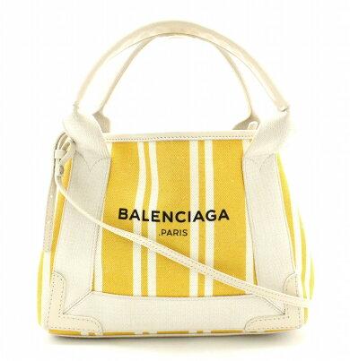 【バッグ】BALENCIAGAバレンシアガネイビーカバNAVYCABASXS2WAYハンドバッグショルダーバッグ斜め掛けカーフレザーイエロー黄色ベージュ390346【中古】【k】