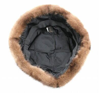 【アパレル】LOUISVUITTONルイヴィトンモノグラムクロッシュヴィゾンファーハット帽子#Sミンクシルク100%ブラウン茶M74219【中古】【k】