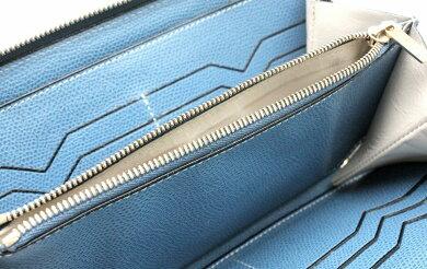 【財布】valextraヴァレクストラバレクストララウンドファスナー長財布レザーコバルトブルー青【中古】【k】