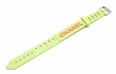【ジュエリー】CHANELシャネルラバーブレスレットロゴシルバー金具99PA12633【中古】【u】