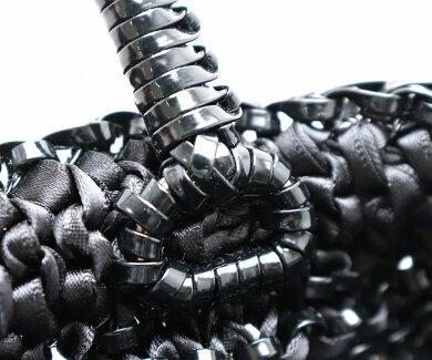 【バッグ】ANTEPRIMAアンテプリマワイヤーバッグリボンハンドバッグ2WAYセミショルダーコットン編込みブラック黒【中古】【k】