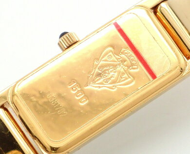 【ウォッチ】GUCCIグッチブラック文字盤GPゴールドカラーレディースクォーツ腕時計1500L【中古】【k】