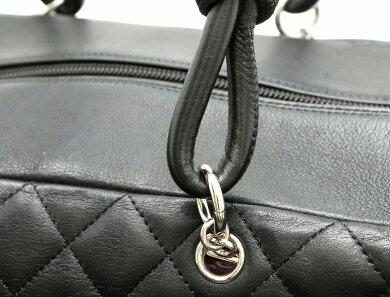 【バッグ】CHANELシャネルカンボンラインマルチポケットショルダーバッグソフトカーフ黒ブラック白ホワイトピンクA25173【中古】【k】