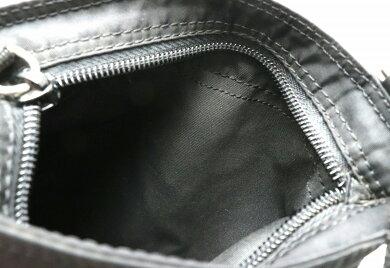 【バッグ】PRADAプラダショルダーバッグショルダーナイロンレザーブラック黒シルバー金具【中古】【k】