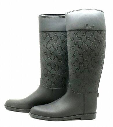 【靴】GUCCIグッチグッチシマGG柄型押しラバーブーツレインブーツサイズ#3924.5cmブラック黒【中古】【k】