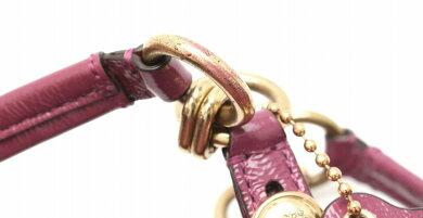 【バッグ】COACHコーチトートバッグショルダーバッグショルダートートパテントレザーパープル紫ゴールド金具15738【中古】【k】