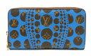 【財布】LOUIS VUITTON ルイ ヴィトン モノグラム パンプキンドット ジッピーウォレット ラウンドファスナー長財布 ブルー クサマヤヨ…