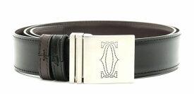 Cartier カルティエ リバーシブル ベルト レザー ブラック 黒 ブラウン 茶 シルバー金具 【中古】【k】