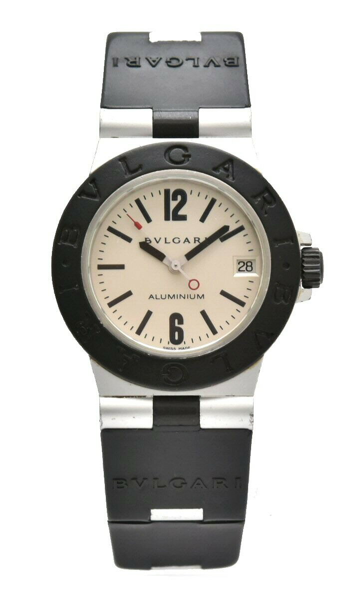 【ウォッチ】BVLGARI ブルガリ アルミニウム 32mm デイト シルバー文字盤 ユニセックス QZ クォーツ 腕時計 AL32A 【中古】【k】