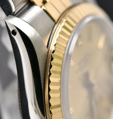 【ウォッチ】【OH・新品仕上げ済】ROLEXロレックスデイトジャストシャンパンゴールド文字盤SS/K18YGコンビR番ボーイズユニセックスATオートマ腕時計68273【中古】【k】