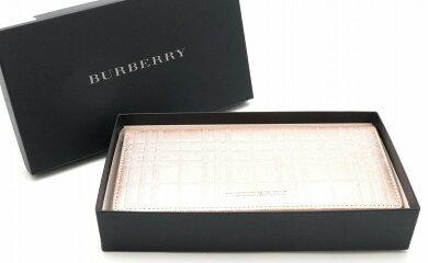 【財布】BURBERRYバーバリーノバチェック柄長財布レザーピンク系YT4620【中古】【k】