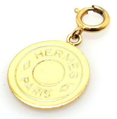 HERMESエルメスセリエチャームペンダントトップヘッドキーホルダーゴールドゴールドメッキGP【中古】【u】