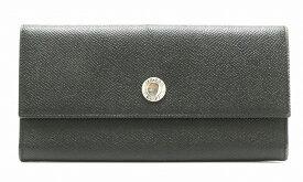 【財布】BVLGARI ブルガリ クラシコ グレインレザー 2つ折 長財布 黒 ブラック シルバー金具 20911 【中古】【s】
