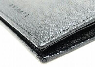 【未使用品】【財布】BVLGARIブルガリロゴレザーグレインレザー2つ折財布ブラック黒【中古】【k】