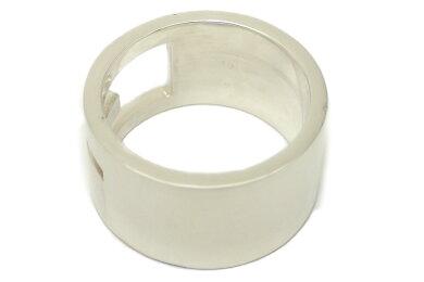 【ジュエリー】GUCCIグッチブランデッドGワイドリングオープンGリング指輪SV925シルバー19号#19【中古】【u】