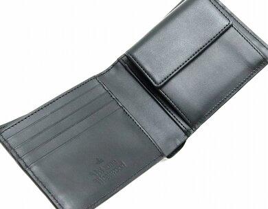 【未使用品】【財布】VivienneWestwoodヴィヴィアンウエストウッドオーブ2つ折財布PVCレザーブラック黒グレーVWK253-13-F【中古】【k】