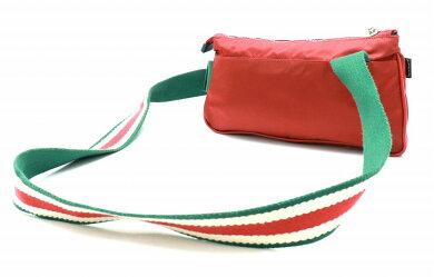 【バッグ】GUCCIグッチウエストバッグウエストポーチボディバッグナイロンレザーラバーレッド赤グリーン緑ホワイト白189663【中古】【k】