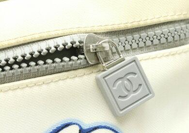 【バッグ】CHANELシャネルスポーツラインカメリアショルダーバッグ斜め掛けショルダーキャンバスホワイト白グレー青ブルー【中古】【k】