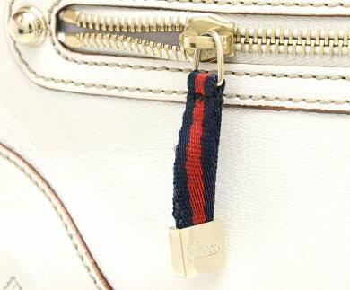 【バッグ】GUCCIグッチチェーンハンドバッグショルダーバッグレザーホワイト白ネイビー紺レッド赤153011【中古】【k】