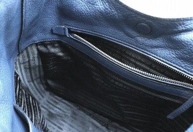 【バッグ】PRADAプラダVITDAINOロゴショルダーバッグ肩掛けワンショルダーバッグレザーBLUETTEブルー青国内ブティック購入品1BC013【中古】【k】