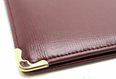 【財布】Cartierカルティエマストライン2つ折長財布札入れボルドーゴールド金具【中古】【k】
