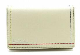 【新品未使用品】Paul Smith ポール スミス カードケース 名刺入れ パスケース 定期入れ IDカードケース レザー ステッチ アイボリー PSK706【k】