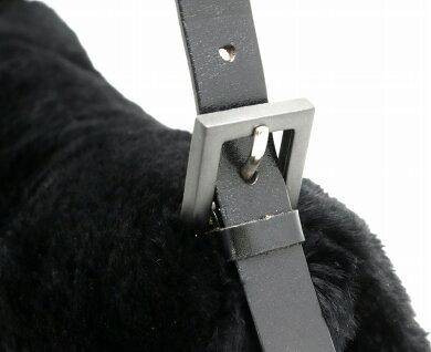 【バッグ】FENDIフェンディマンマバケットセミショルダーファー肩掛けレザーブラック黒【中古】【s】
