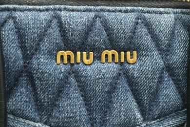 【バッグ】MiuMiuミュウミュウデニムバイカーハンドバッグショルダーバッグ2WAYブルーデニムブルー青ブラック黒ゴールド金具RN1032【中古】【s】