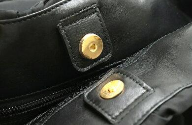 【バッグ】PRADAプラダギャザーリボンハンドバッグトートバッグセミショルダー2WAYナイロンレザー黒ブラックゴールド金具国内ブティック購入品BN1970【中古】【s】
