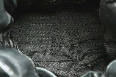 【バッグ】PRADAプラダトートバッグショルダーバッグ2WAY斜め掛けリボンギャザーパテントレザーブラックゴールド金具BN1760【中古】【s】