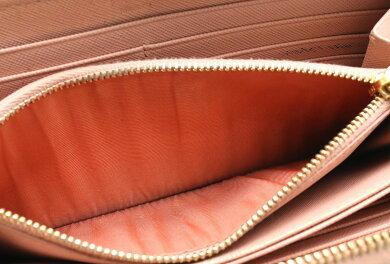 【財布】PRADAプラダSAFFIANOFIOCCOラウンドファスナーリボン長財布型押しレザーORCHIDEAソフトピンク国内ブティック購入品1M0506【中古】【s】