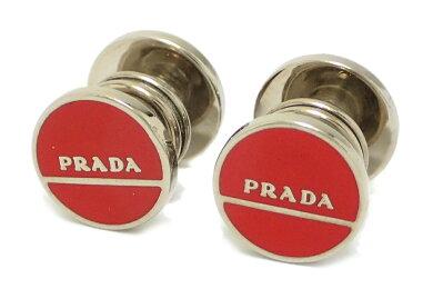 PRADAプラダロゴカフスカフリンクスラウンドレッド赤シルバーホック式【中古】【u】
