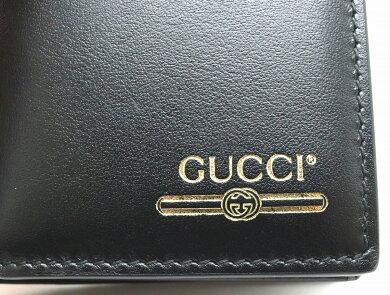【財布】GUCCIグッチヴィンテージロゴ入りコインウォレット2つ折財布レザーブラック黒ゴールドプリント5731150YA0G1000【中古】【s】