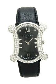 【ウォッチ】CELINE セリーヌ ブラゾン ダイヤベゼル ブラック文字盤 10Pダイヤ SS レディース QZ クォーツ 腕時計 C75111011M 【中古】【k】