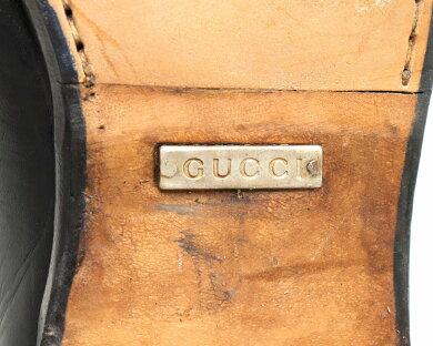 【靴】GUCCIグッチホースビットローファーレザーブラック黒シルバー金具メンズサイズ#411/2E26.5cm1100009/4【中古】【s】