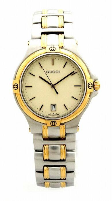 【ウォッチ】GUCCIグッチアイボリー文字盤デイトSSGPメンズQZクォーツ腕時計9040M【中古】【k】