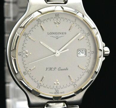 【ウォッチ】LONGINESロンジンコンクエストデイトVHPシルバー文字盤メンズQZクォーツ腕時計L1.613.4【中古】【k】