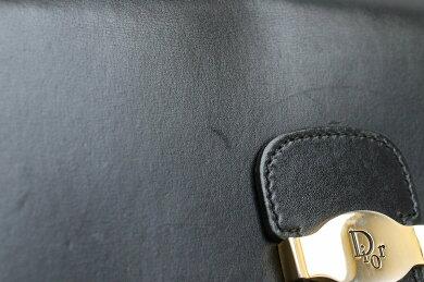 【バッグ】ChristianDiorクリスチャンディオールロゴショルダーバッグ肩掛けPVCレザーブラック黒ゴールド金具【中古】【s】