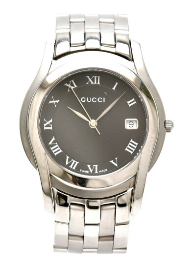 【ウォッチ】GUCCIグッチブラック文字盤デイトメンズQZクォーツ腕時計5500M【中古】【s】