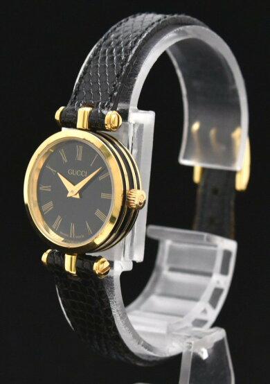 【ウォッチ】GUCCIグッチレディースウォッチブラック文字盤リザード革ベルトGPQZクォーツ腕時計【中古】【u】