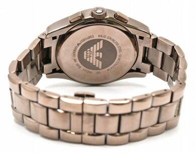 【ウォッチ】EMPORIOARMANIエンポリオアルマーニクラシッククロノグラフメンズブラウンQZクォーツ腕時計AR-1610AR1610【中古】【k】