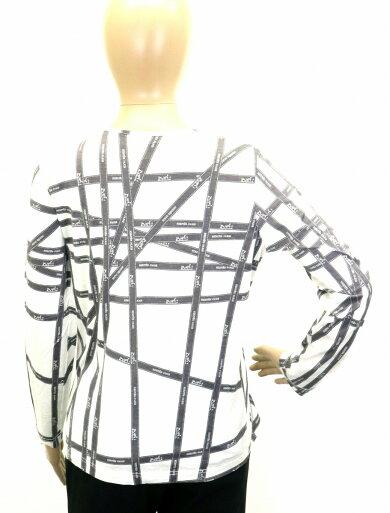 【アパレル】HERMESエルメスボルデュックレディース長袖ロングTシャツリボン柄コットン100%オフホワイト白グレーSサイズ【中古】【s】