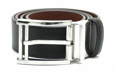 dunhillダンヒルロゴベルトレザー黒ブラック茶ブラウン#78-90.5シルバー金具【中古】【s】