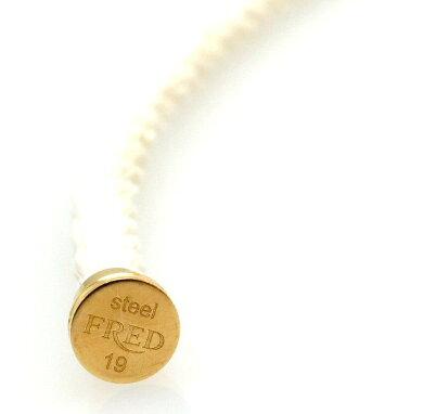 【ジュエリー】FREDフレッドフォース10ブレスレット用コードケーブルホワイト白スティールSS2重ケーブル#19LM【中古】【s】