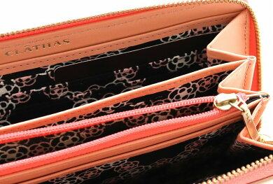 【財布】CLATHASクレイサスL字ファスナー長財布カメリアモチーフレザーピンク【中古】【s】