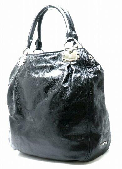 【バッグ】MiuMiuミュウミュウミュウミュウハンドバッグトートバッグショルダーバッグヴィンテージレザーブラックNERO黒RR1445【中古】【s】