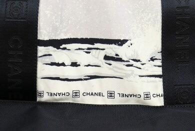 【バッグ】CHANELシャネルスポーツラインハイサマートートバッグハンドバッグウェーブ波ナイロンコットングレーブラック黒A25534【中古】【s】