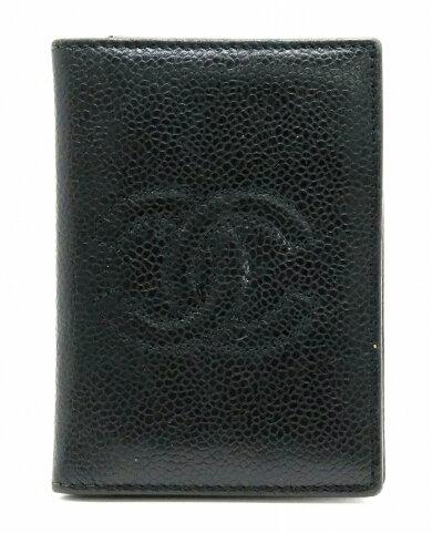 CHANELシャネルココマークカードケース名刺入れパスケースキャビアスキンレザーブラック黒【中古】【s】