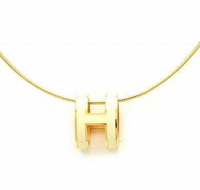 【ジュエリー】HERMESエルメスポップアッシュHネックレスメタルチョーカーHロゴアイボリーGPゴールドカラー【中古】【s】